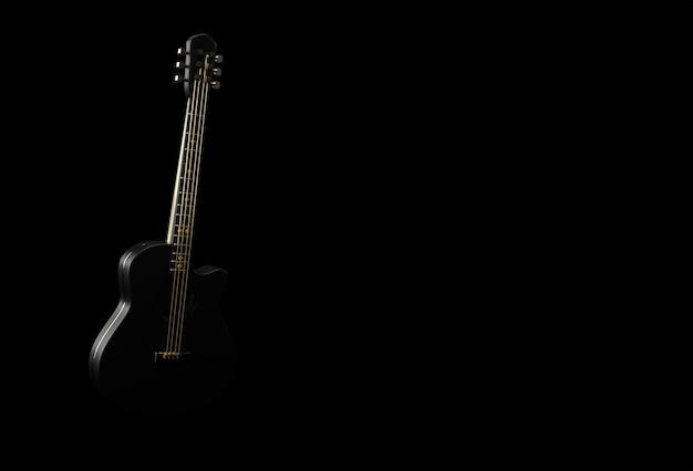 3d render akoestische gitaar op zwarte achtergrond 3d illustratie ontwerp.