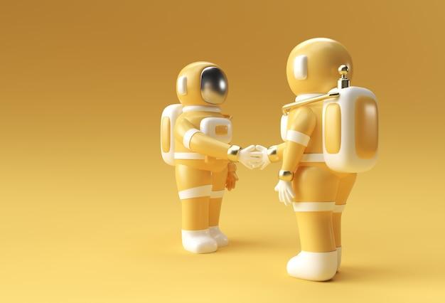 3d render astronaut hand schudden gebaar 3d illustratie ontwerp.