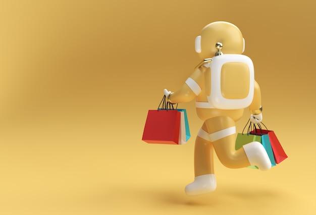 3d render astronaut met boodschappentassen 3d illustratie ontwerp.