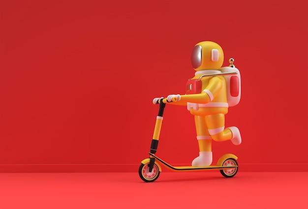 3d render astronaut rijden op een push scooter 3d-art design illustratie.