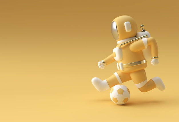3d render astronaut schopt het 3d illustratieontwerp van de voetbalbal.