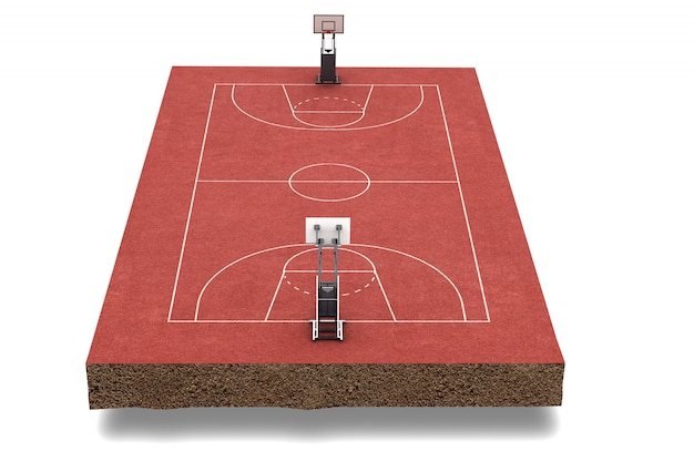 3d render basketbalveld