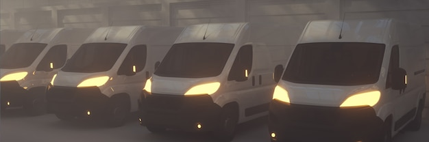 3d render bestelwagen transport vrachtwagens geparkeerd met lichten aan
