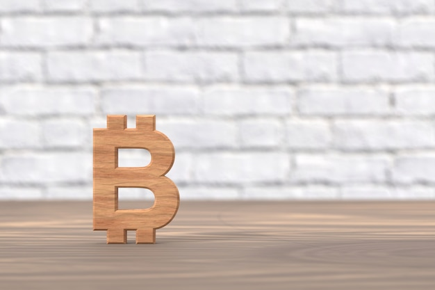 3d render bitcoin hout teken op houten tafel en witte bakstenen achtergrond