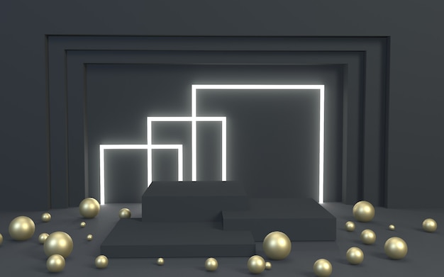 3d render blackgold product display podium