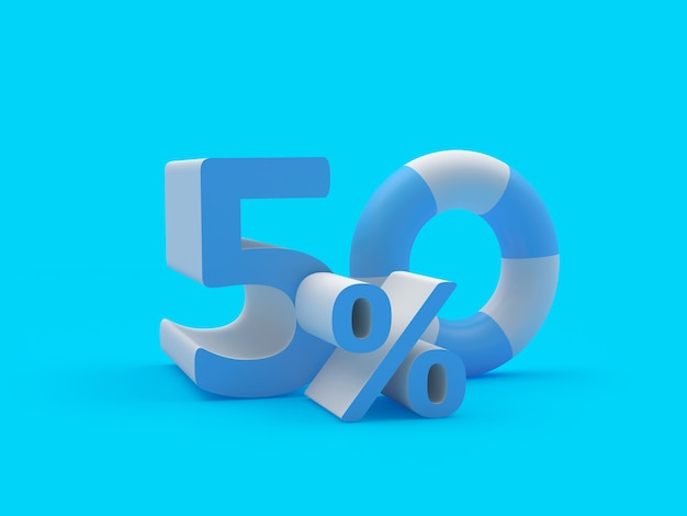 3d render blauw en wit vijftig procent tekst geïsoleerd op lichtblauwe achtergrond