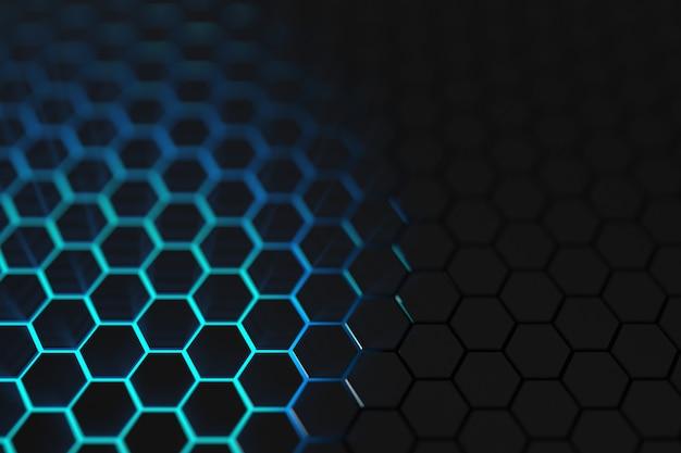 3d render blauw licht zeshoek achtergrond