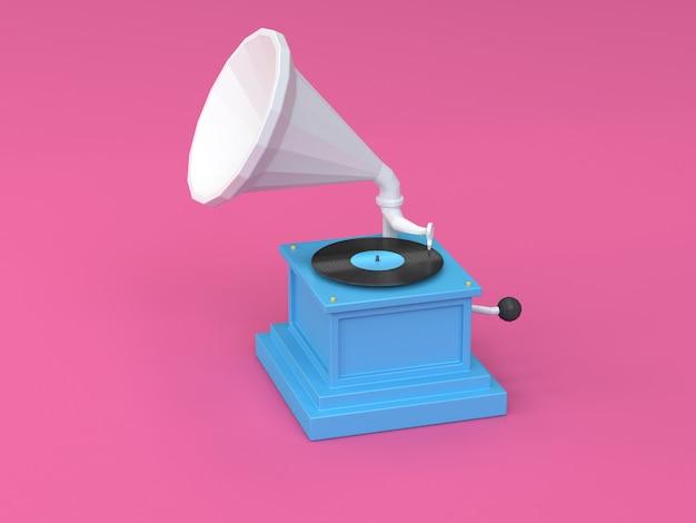 3d render blauw wit vintage vinyl speler cartoon stijl roze