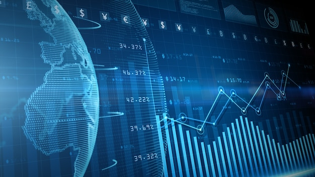 3d render blauwe digitale gegevens financiële investering diagram achtergrond Premium Foto