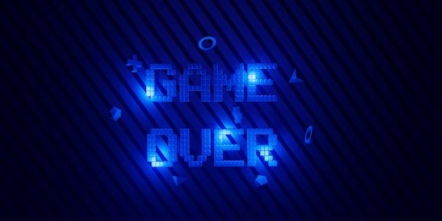 3d render blauwe game over tekst op blauwe achtergrond met patroon