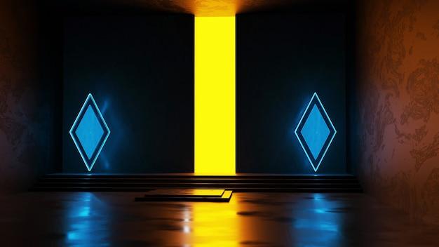 3d render blauwe geometrische vormen en geel zwak licht op natte betonnen vloer en donkere muur