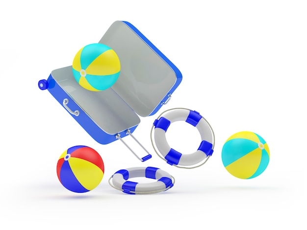 3d render blauwe koffer met strandballen en reddingsboei die eruit vallen geïsoleerd op een witte achtergrond