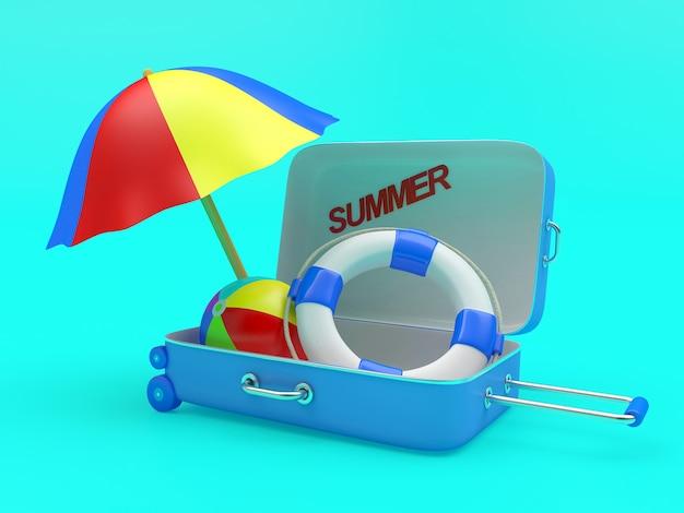 3d render blauwe koffer met tekst zomer, paraplu, bal en reddingsboei binnen op blauwe achtergrond