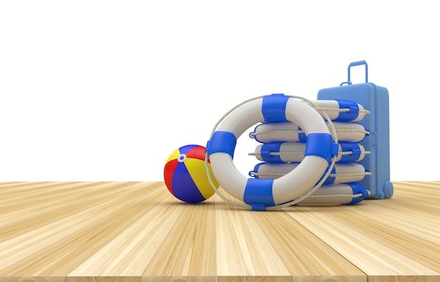 3d render blauwe koffer, strandbal en reddingsboei stapel op houten tafel en witte achtergrond