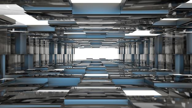 3d render blauwe technologische tunnel