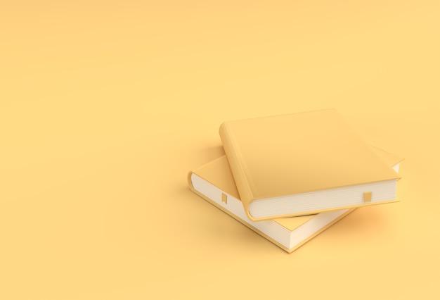 3d render boeken stapel boekomslagen leerboek bladwijzer mockup stijl design.