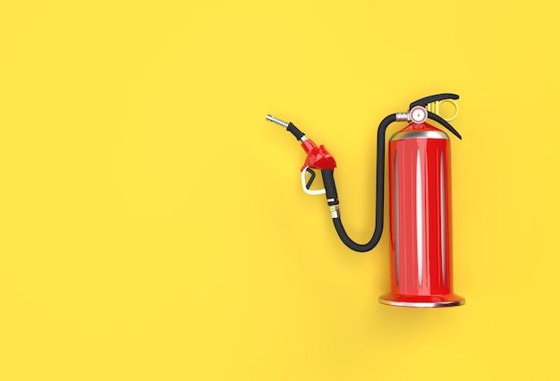 3d render brandblusser met brandstofpomp mondstuk pastel kleur achtergrond.