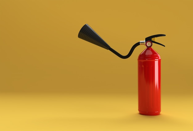 3d render brandblusser pastel kleur achtergrond.