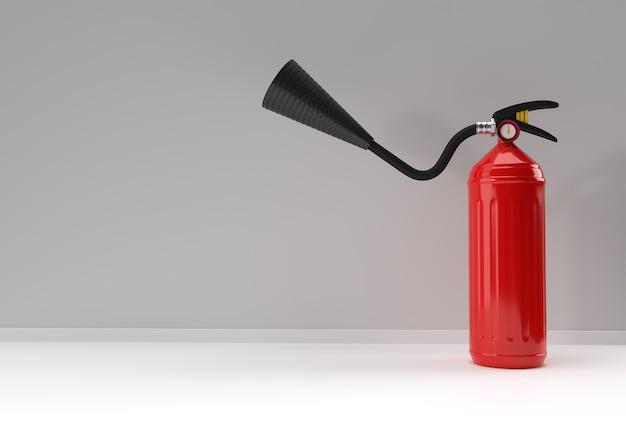 3d render brandblusser pastel witte achtergrond.