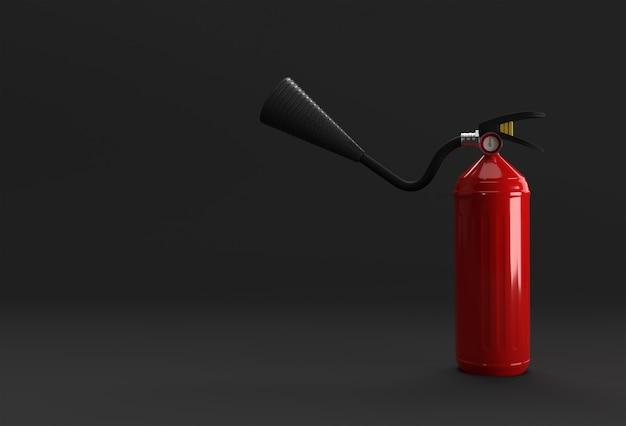 3d render brandblusser pastel zwarte achtergrond.