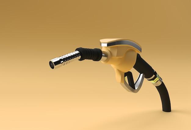 3d render brandstofpomp mondstuk geïsoleerd op kleur achtergrond.