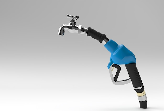 3d render brandstofpomp mondstuk met kraan geïsoleerd op een witte achtergrond.