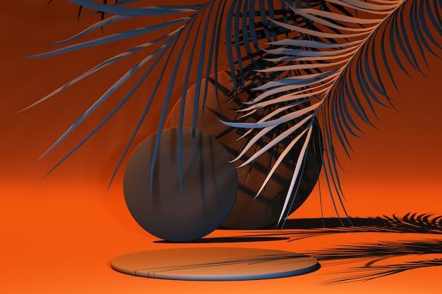 3d render bruine podia met oranje tropische bladeren op oranje achtergrond Premium Foto