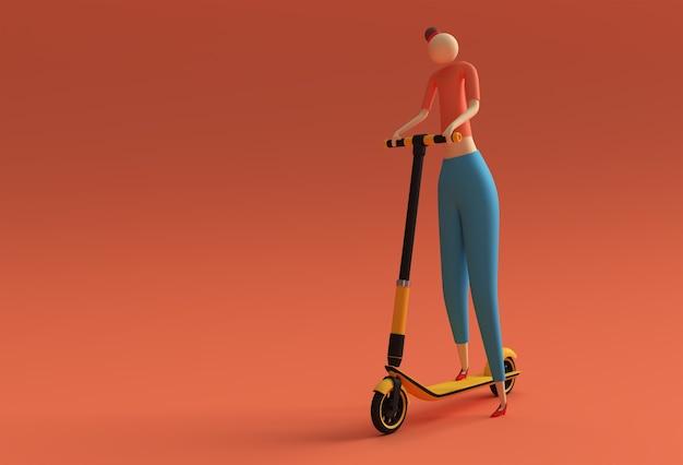 3d render cartoon vrouw rijden op een push scooter 3d art design illustratie.