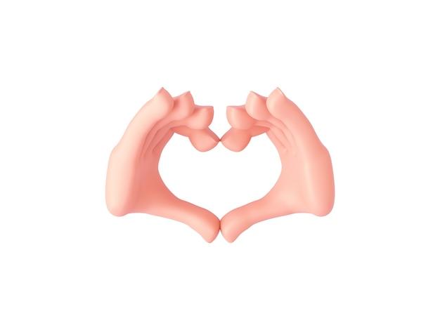 3d render, cartoonhanden maken een hartgebaar met ongeopende vingers of tonen liefde