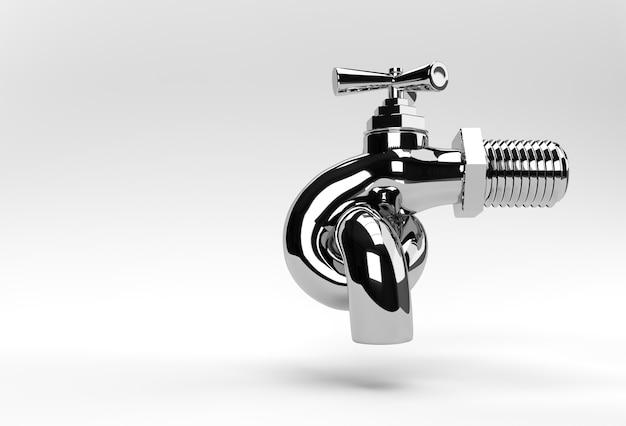 3d render chrome kraan met een waterstroom geïsoleerd op wit 3d illustratie.