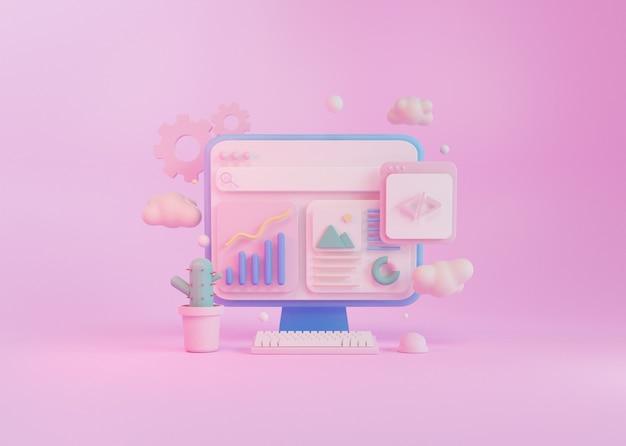 3d render concept computerprogrammering ontwikkeling, met toetsenbordmuis en cactus plant