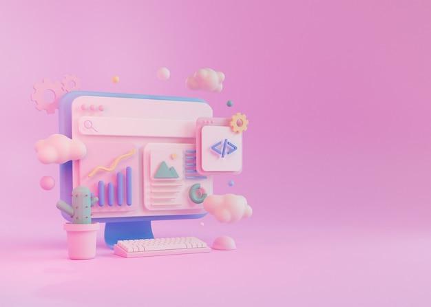 3d render concept computspeeer programmeren ontwikkeling, met toetsenbord muis en cactus plant
