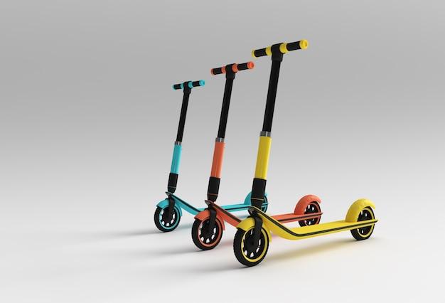 3d render concept single push scooter voor kinderen 3d art design illustratie.