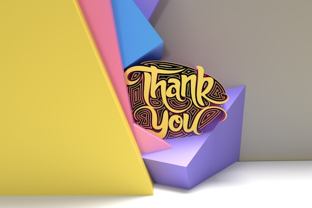 3d render dank u belettering typografische 3d flyer poster afbeelding ontwerp.