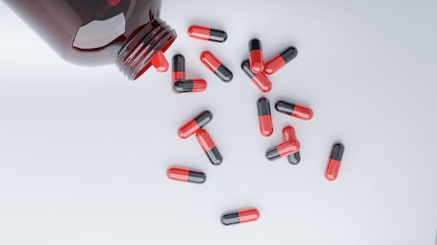 3d render. de capsules van geneeskundepillen op witte achtergrond.