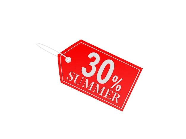3d render dertig procent zomer rood prijskaartje geïsoleerd op een witte achtergrond