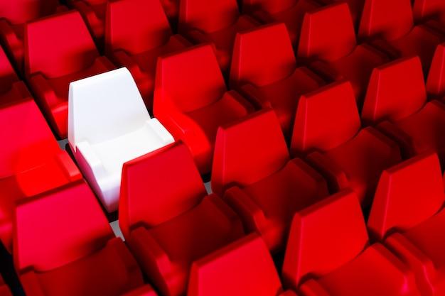 3d render dezelfde rijen rode cartoon zachte stoelen en een witte stoel in het theater. concept van een neon mooie bioscoop met stoelen