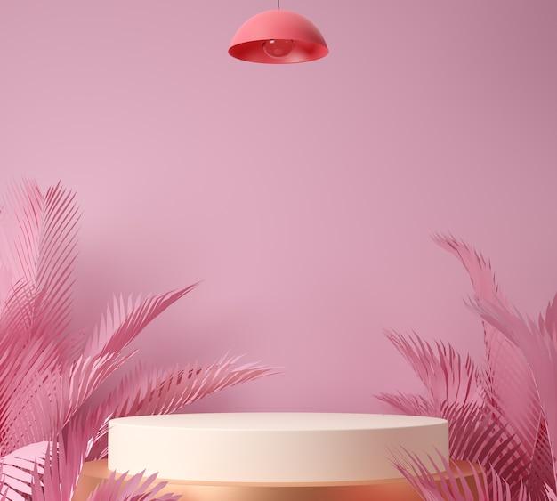 3d render display of showcase, palmblad en roze achtergrond.