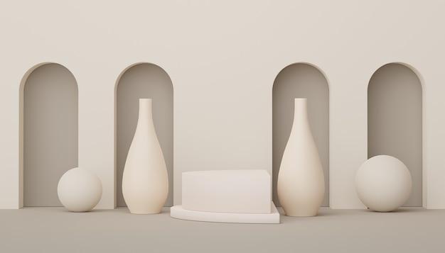 3d render display podium voor product- en cosmetische presentatie minimale scène voor reclame