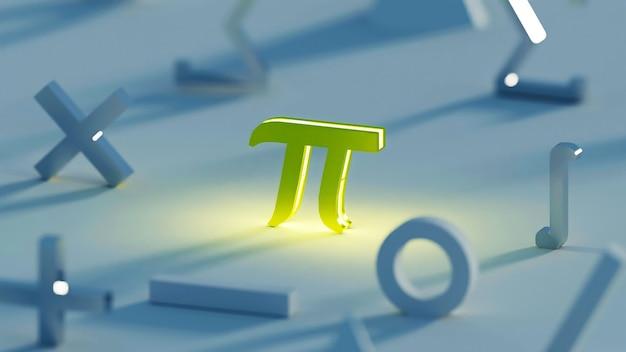 3d render donkergeel pi-wiskunde-symbool