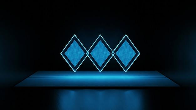 3d render drie blauwe diamantvormen met gedimd licht op de vloer op zwarte achtergrond