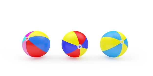 3d render drie kleurrijke strandballen op een rij geïsoleerd op een witte achtergrond