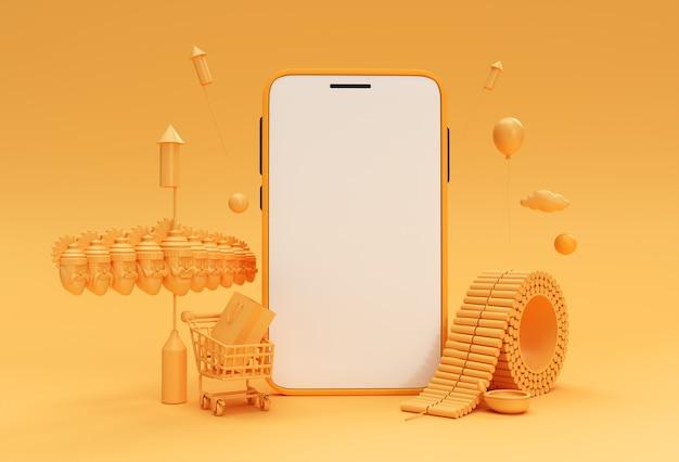 3d render dussehra celebration & diwali minimalistische moderne mockup smartphones voor presentatie display products advertising design.