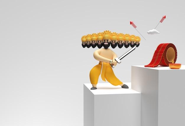 3d render dussehra celebration scene van minimal podium scene voor display products advertising design.