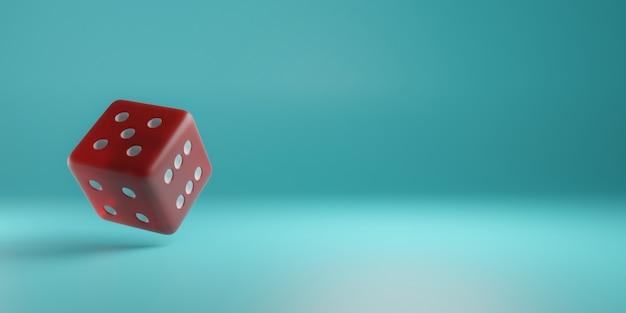 3d render een rode dobbelsteen drijvend op een turquoise achtergrond gamen en gokken willekeurige getallen