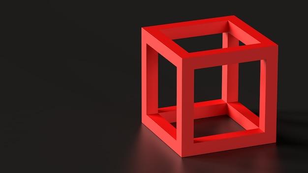 3d render figuur rode kubus op donkere vloer enkele abstracte geometrische