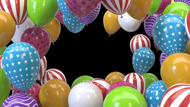 3d render frame van veelkleurige ballonnen op een zwarte achtergrond