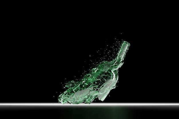 3d render gebroken glas realistische groene bierfles mock up, 3d illustratie grafisch ontwerp.