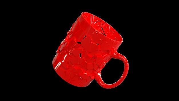 3d render gebroken rode kop in de ruimte