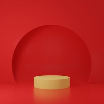 3d render geel podium geïsoleerd in rode boogvormige achtergrond
